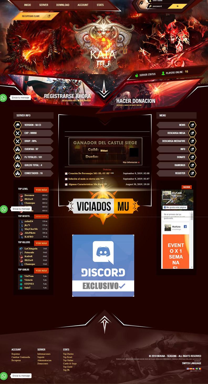 Web Engine MagicMG Mu Online - Compativel mobile e season 14 mu online